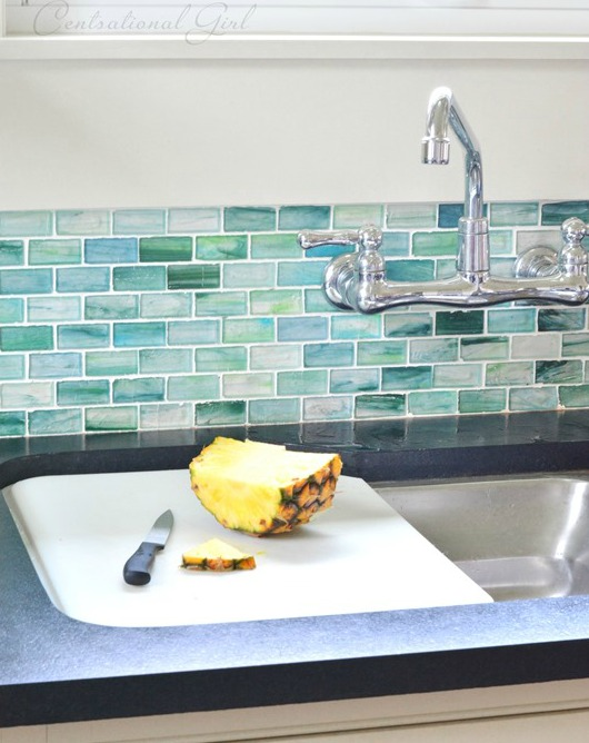 Seaglass Backsplash Design Idea