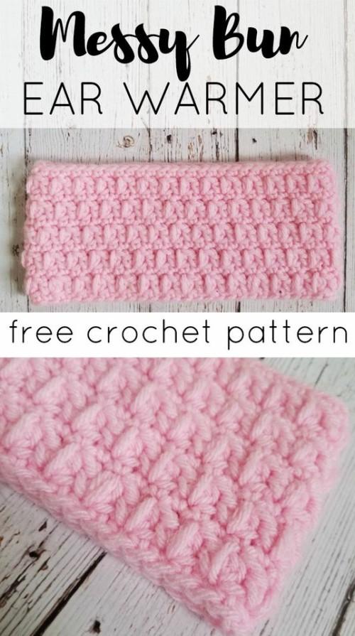 Messy Bun Ear Warmer - Free Crochet Pattern