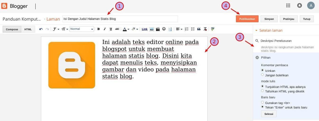 Cara Membuat Halaman Statis Blog Di Blogspot Blogger