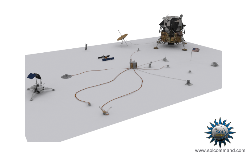 Alsep Apollo lunar surface experiments package 3d model free download original low poly design textured game ready central station conrad surveyor passive seismic sensor radioisotope thermoelectric generator charged particle suprathermal ion detector