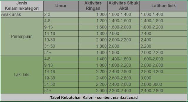 Tabel Kebutuhan Kalori