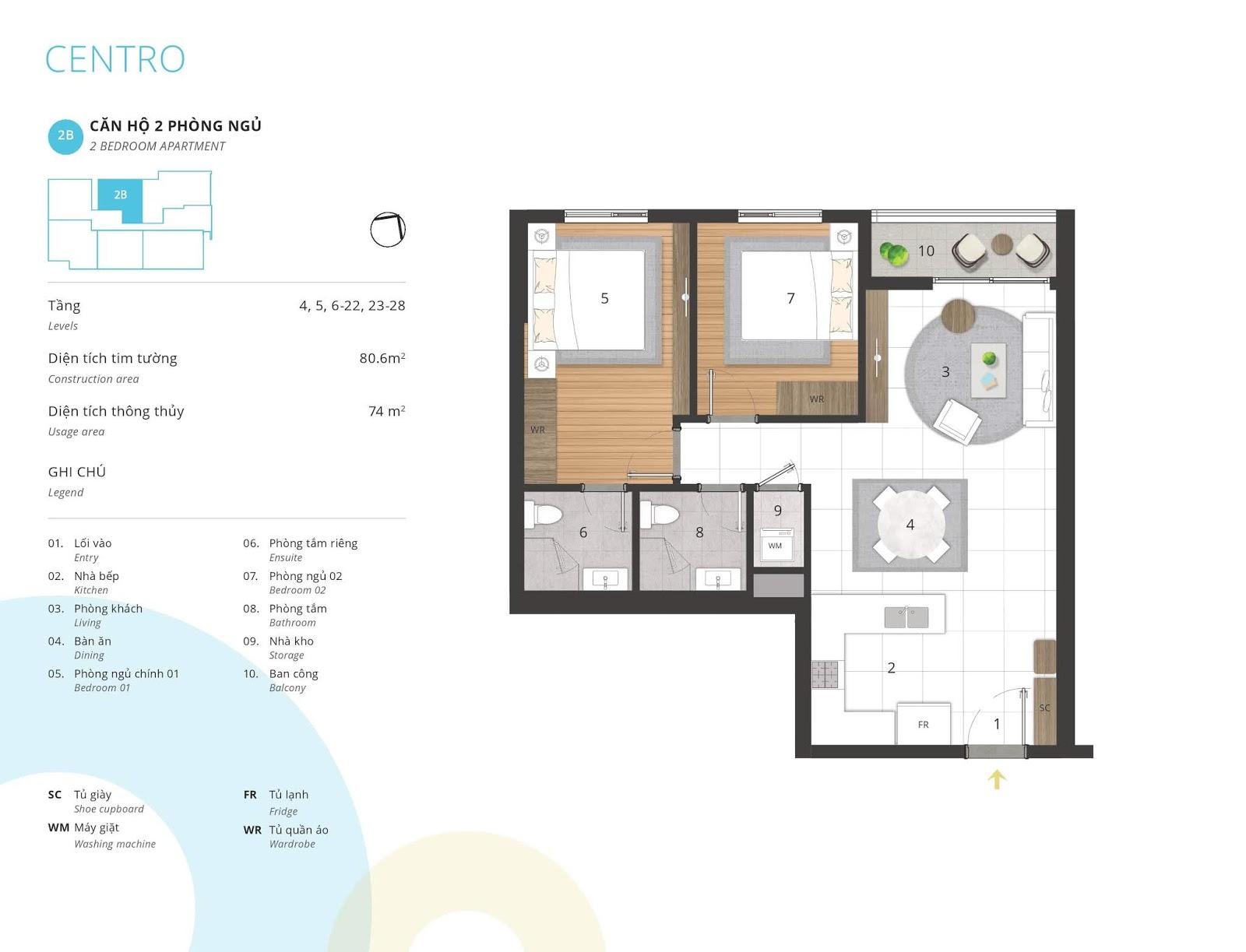 Mặt bằng căn hộ 2 phòng ngủ 74 m2 thông thủy tòa CENTRO
