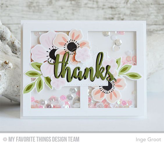Handmade card from Inge Groot featuring Flashy Florals stamp set and Die-namics, Thanks & Hello and Gift Box Cover-Up Die-namics #mftstamps