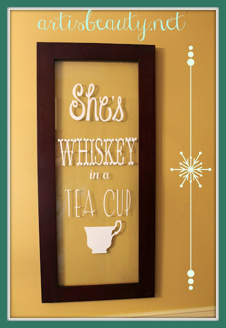 """she's whiskey in a tea cup"" vinyl recycled window home decor DIY before and after"