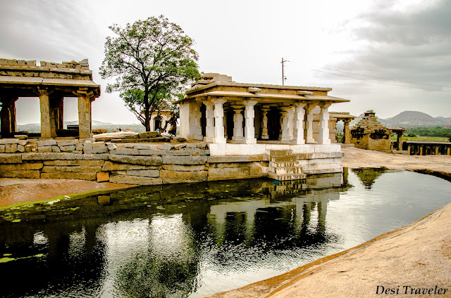 pond in front of moola virupaksha temple in Hampi
