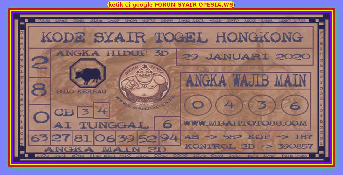 Kode syair Hongkong Rabu 29 Januari 2020 158