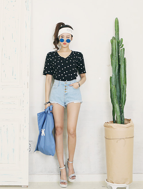 Button Fly Retro Denim Shorts