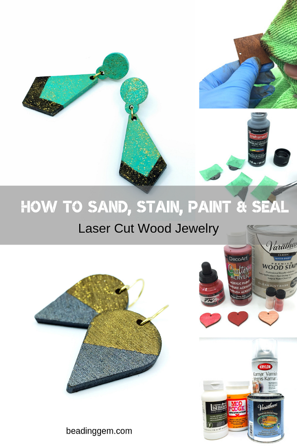 How to Sand, Stain, Paint and Seal Laser Cut Jewelry Designs