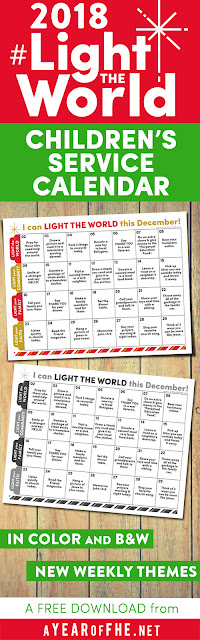 A Year of FHE // Download this FREE 2018 Light The World Service Calendar for Kids! This cute calendar has daily service that Primary-age kids can do each day with little or no help from adults. Print for your friends, family, and church groups! #LIGHTtheWORLD #lds #christmas #service #kids