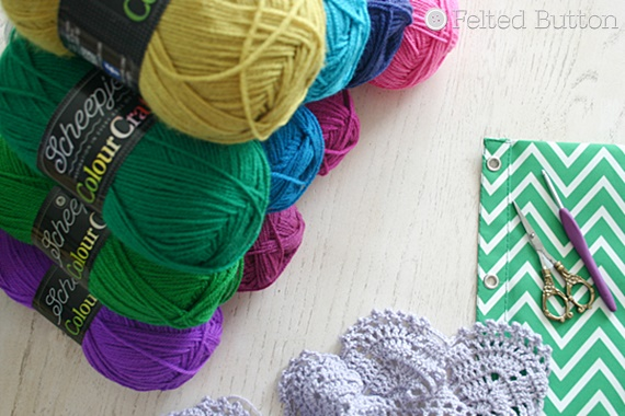 Scheepjes Colour Crafter yarn -- sneak peek of new Felted Button Rock Cress Scarf crochet pattern