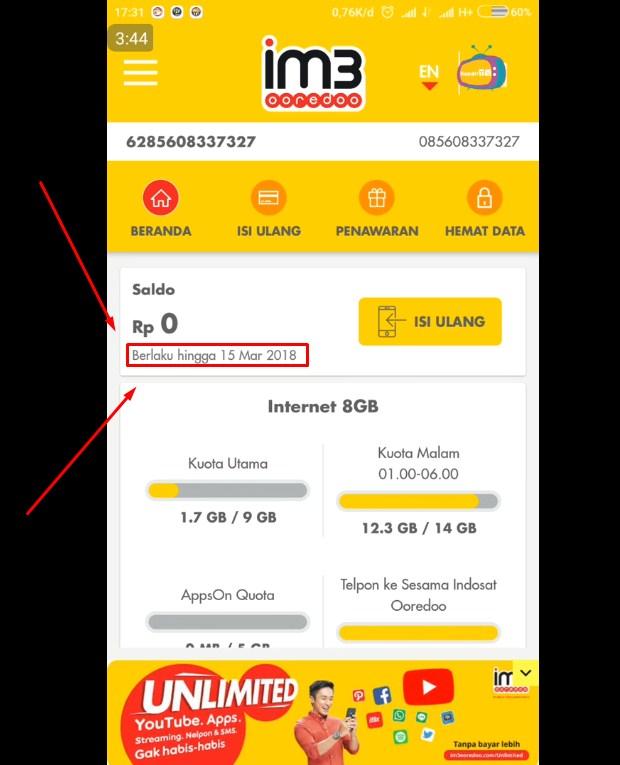 Cara Cek Masa Tenggang Indosat Pakai Aplikasi myIM3 Terbaru 2019 iv