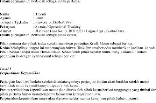 Contoh Surat Surat Perjanjian Oper Kredit Bertemuco