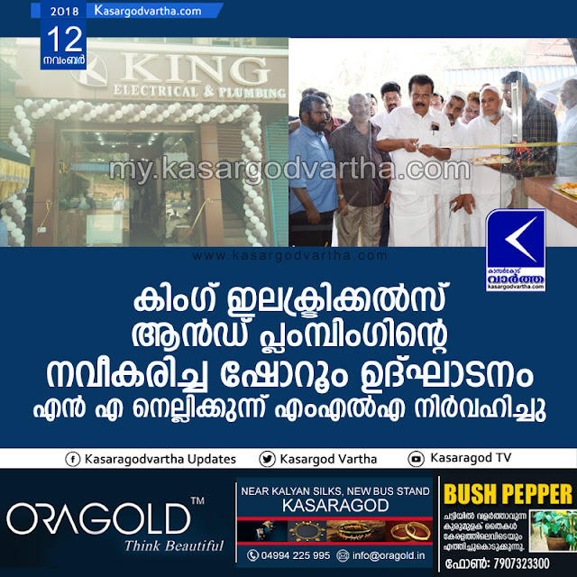 King Electricals and Plumbing Show room inaugurated, Kasargod, News, Business, Inauguration, N.A. Nellikunnu MLA.