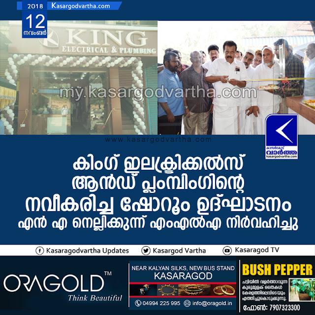 King Electricals and Plumbing Show room inaugurated, Kasargod, News, Business, Inauguration, N.A. Nellikunnu MLA.