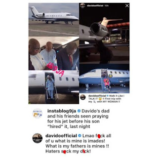 Davido admits private jet belongs to his dad after he was