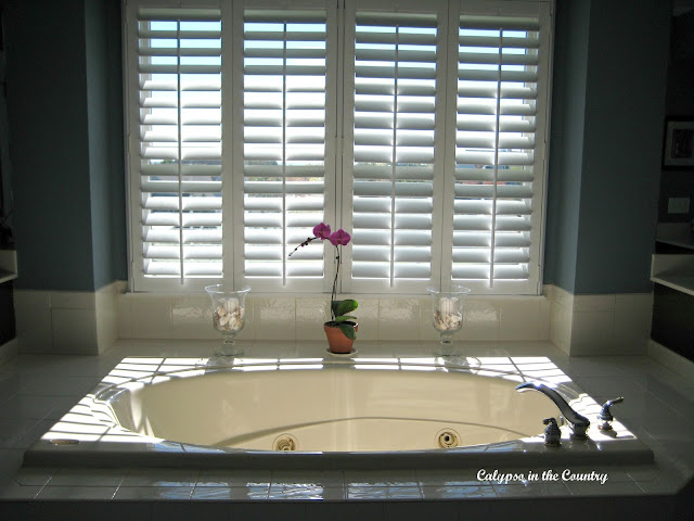 Plantation Shutters over the tub