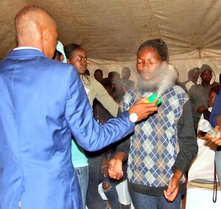 South African Prophet, Lethebo Rabalago uses insecticide to 'heal' church members (See Photos)