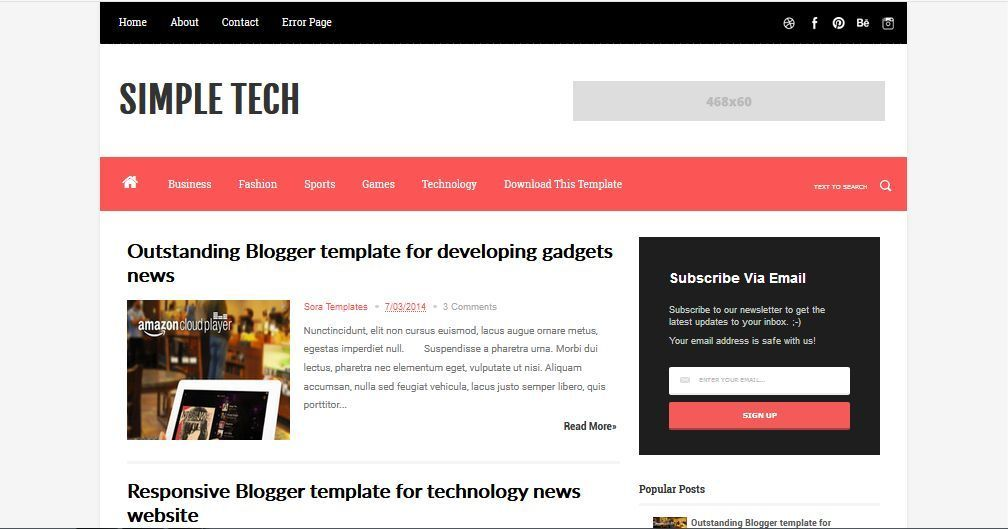 Simple Tech Template Blog Sederhana Gratis
