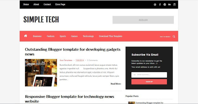 Simple Tech - Template Blog Simple Sederhana Gratis