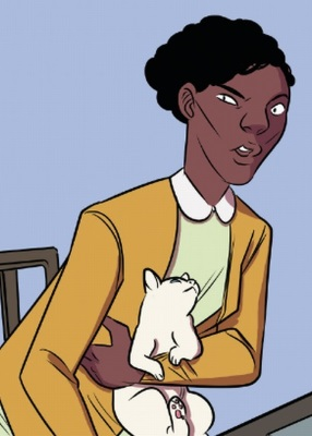 Illustration of a young black woman leaning forward slightly with a dubious expression on her face. She wears a mustard yellow cardigan and holds a small white cat.