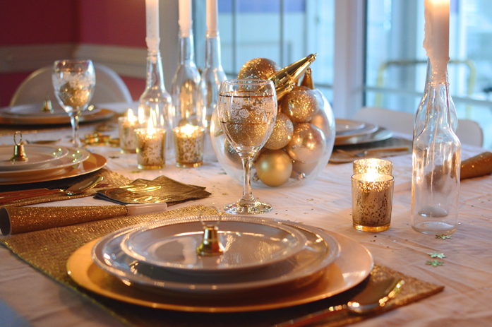 gold themed new year's eve table styling