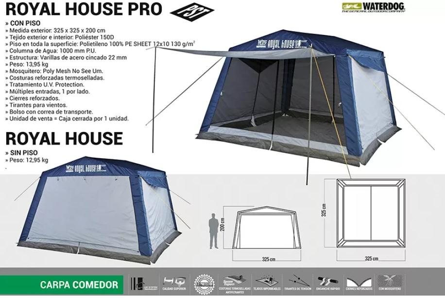carpa comedor waterdog royal 325x325x200 cm con piso