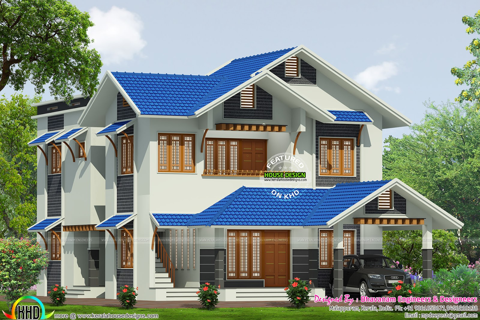House plan by bhavanam engineers designers kerala home for Kerala house designs and floor plans 2016
