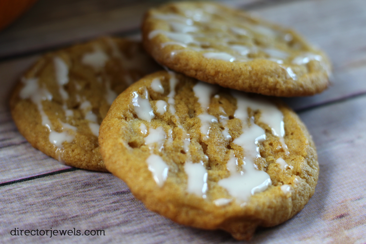 Pumpkin Cookies with Cream Cheese Glaze Recipe | directorjewels.com