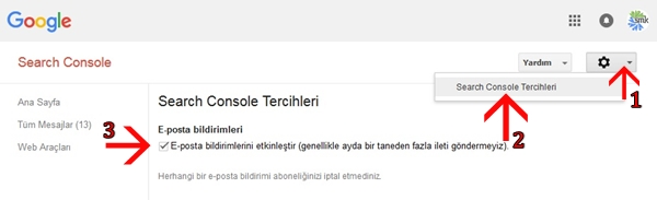 Search Console Tercihleri