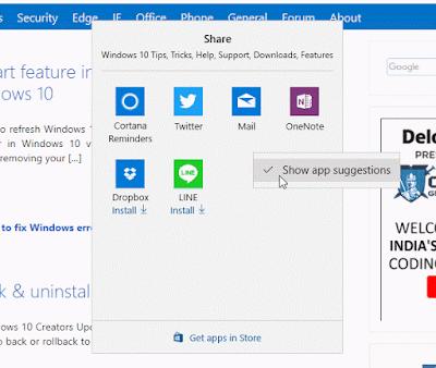 Cara menonaktifkan share app suggestions di windows 10