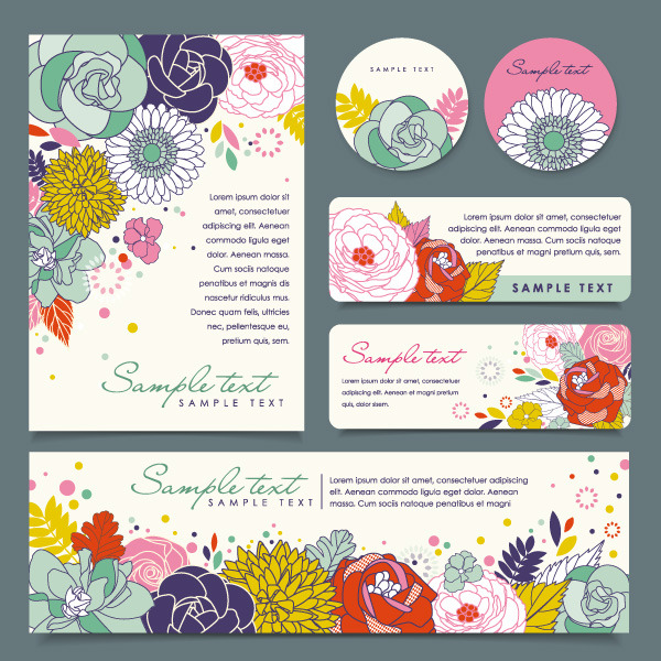 Set of Corporate Identity kit cover with flower vector free.