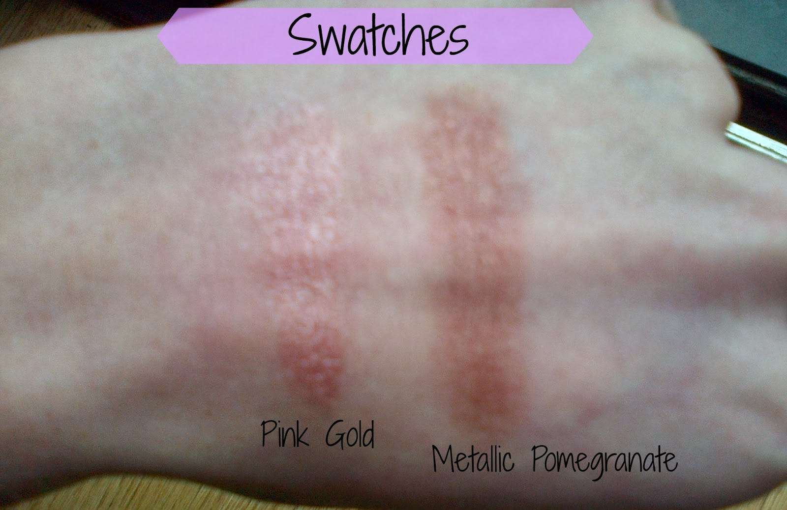 Maybelline Color Tattoos Pink Gold Swatch, Maybelline Metallic Pomegranate Swatch