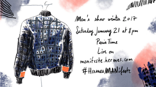 Watch Hermès Men's Fall/Winter 17 Show LIVE from PARIS TONIGHT!