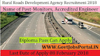 Kerala State Rural Roads Development Agency Recruitment 2018 – 65 Monitors, Accredited Overseer & Accredited Engineer