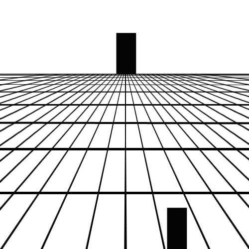 Uzaktaki ve yakındaki aynı büyüklükteki dikdörtgenlerin perspektif nedeniyle farklı büyüklükte görünmesi