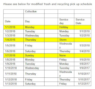 modified Trash and recycling pick up schedule