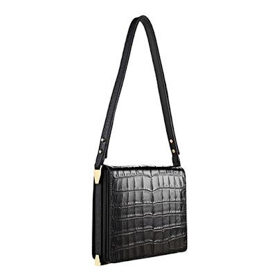 "Loeffler Randall Black Croc Embossed Leather  ""Editor"" bag - $495"