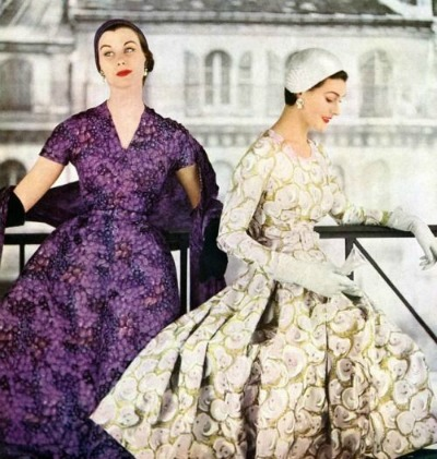 Two Models Wearing Givenchy Dresses for Vogue May 1953  Photo by Henry Clarke  Courtesy My Vintage Vogue