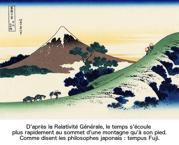D'après la Relativité Générale, le temps s'écoule plus rapidement au sommet d'une montagne qu'à son pied. Comme disent les philosophes japonais : tempus Fuji.