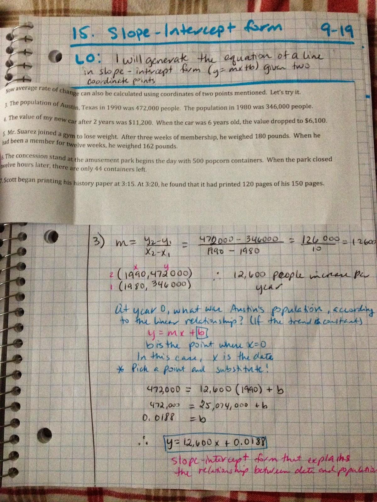 Geometry 15 Slope Intercept Form