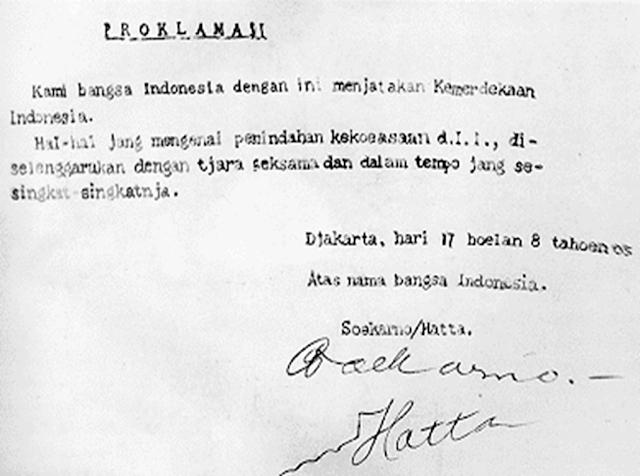 Teks Proklamasi Kemerdekaan Indonesia 17 Agustus 1945
