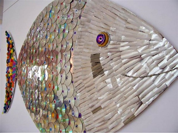 Fish wall hanging - recycle waste cd art