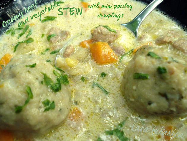 Meat and vegetable stew with parsley dumplings by Laka kuharica:  hearty and delicious meal in itself.