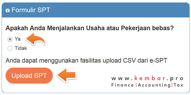 Formulir Upload Data eFiling Pajak Badan Usaha & Usahawan
