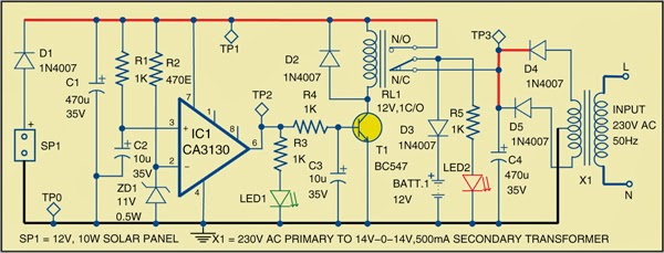 Simple Hybrid Solar Charger Circuit Diagram | Electronic ...