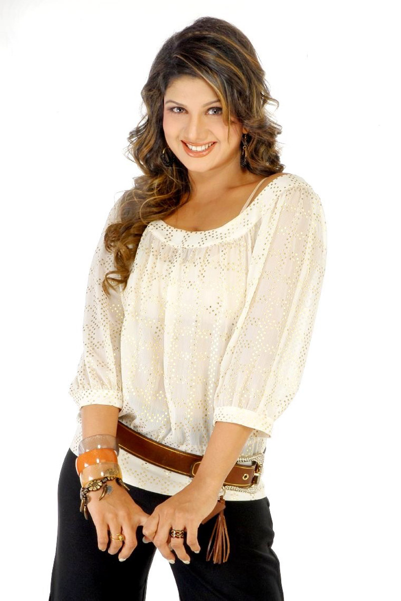 Actress Rambha Long Hair Photos In White Top