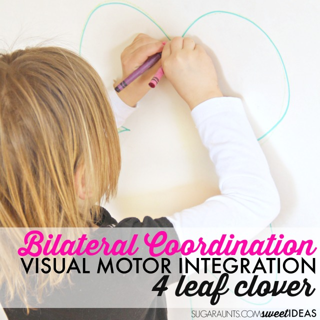 Bilateral coordination activity with a clover theme works on visual motor coordination, kinesthetic sense, peripheral vision for improved gross motor and fine motor bilateral activities.