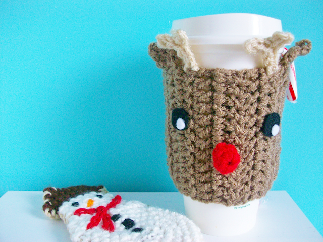Reindeer Coffee Cozy Crochet Pattern