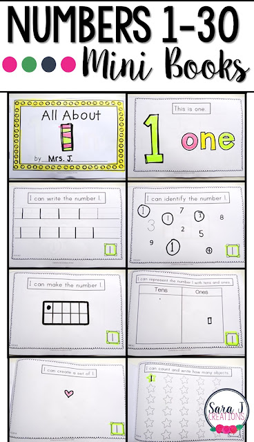 Number mini books are a great activity for students to practice counting, writing, drawing and identifying numbers 1-30.  Perfect for preschool or kindergarten.