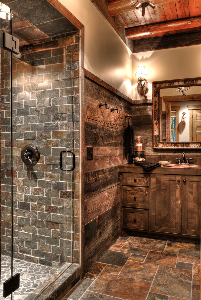 Best small space organization hacks 31 gorgeous rustic for Lodge bathroom designs